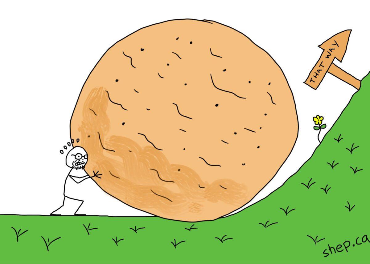 rolling a boulder